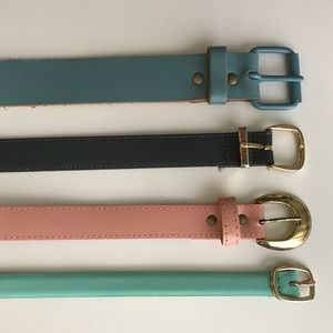 4 pc Pastel Set Size Small Italian Leather Belts
